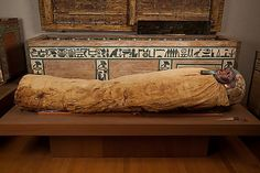 Mummy of Ukhhotep, son of Hedjpu, Egypt, 1981–1802 B.C. Cartonnage, wood (ficus sycomorus), paint, linen, human remains, obsidian, gold, Egyptian alabaster