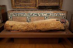 Mummy of Ukhhotep, son of Hedjpu, Egypt, 1981–1802 B.C. Cartonnage, wood (ficus sycomorus), paint, linen, human remains, obsidian, gold, Egyptian alabaster