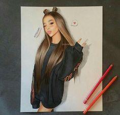 Ariana Grande Photoshoot, Ariana Grande Fans, Ariana Grande Wallpaper, Drawing Hair Tutorial, Ariana Grande Drawings, Ariana Grande Dangerous Woman, Celebrity Drawings, Polychromos, Illustration Girl