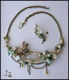 Wind in the grass necklace and ear cuff by JSjewelry.deviantart.com on @deviantART
