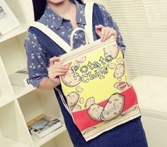 Students harajuku potato chips backpack