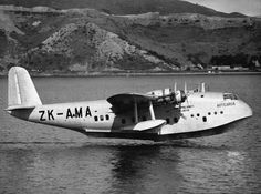 Tasman Empire Airways Ltd ('TEAL') Short S.30 Empire (or: 'C-') Class flying boat 'Aotearoa' ZK-AMA (c/n: S.884) alights on Evans Bay in Wellington, New Zealand on 19 January 1940. Aotearoa was a Mk IV New Zealand 'boat, a long range version of the S.23, with an MAUW of 53,000 lb and an increased fuel capacity of 2,474 Imperial gallons, giving it a range of 1,914 nm (3,547 km) with full payload.