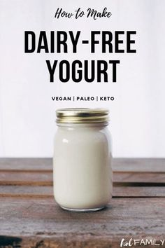 Making homemade dairy-free yogurt can be done easily with a few simple ingredients. This vegan paleo and ketogenic dairy-free yogurt is even kid-friendly. It makes the perfect snack or breakfast! With many options for milk culture thickener and sweet Coconut Milk Yogurt, Dairy Free Yogurt, Vegan Yogurt, Dairy Free Milk, Lactose Free Yogurt Recipe, Vegan Milk, Raw Milk, Paleo Vegan, Kefir