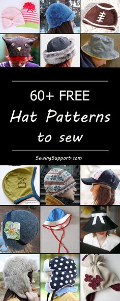 Over 60 free fabric hat sewing patterns. Crochet Patterns Free Women, Hat Patterns To Sew, Sewing Patterns Free, Free Sewing, Free Pattern, Fleece Hat Pattern, Headband Pattern, How To Make Headbands, Fleece Hats