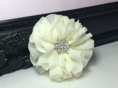 Cream organza flower with rhinestone center - diy supplies - fabric flowers - wholesale flowers - hair bow supplies