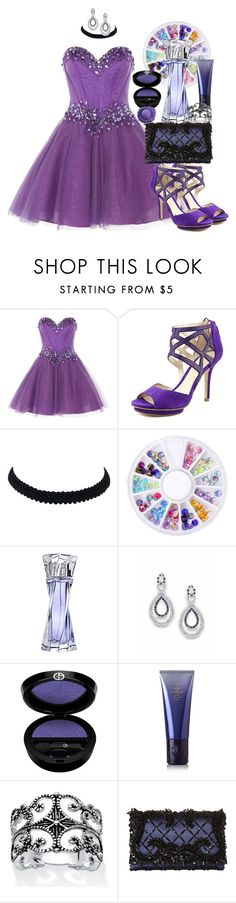 """Purple"" by melody-j-hannes ❤ liked on Polyvore featuring Anoushka G, Pelle Moda, Lancôme, Giorgio Armani, Oribe, Palm Beach Jewelry, Oscar de la Renta and purple"