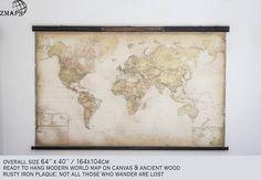 Modern world map 64x40164x104cm Pushpin Iron