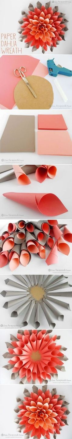 DIY Paper Dahlia Wreath - 15 Most PINteresting DIY Paper Decorations | GleamItUp