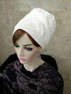 Velo marfil cuero de gamuza cabeza bufanda nuevo pelo