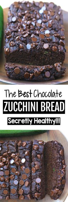 Soft, moist, ultra fudgy chocolate zucchini bread, with a full cup of zucchini in the recipe, to add moisture without extra fat and calories! Chocolate Zucchini Loaf, Zucchini Banana Bread, Healthy Zucchini Recipes, Chocolate Bread Recipe, Baking Chocolate, Zucchini Cake, Chocolate Truffles, Chocolate Chips, Köstliche Desserts
