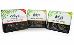 Daiya wedges - Cheddar, jack and jalepeno garlic havarti - starting to roll out to stores in April.