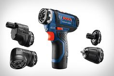 Its compact size makes it ideal for carrying from job to job, but its the innovative FlexiClick system that lets the Bosch Max FlexiClick Drill replace a case full of tools. With a single click, it goes from being. Cheap Power Tools, Cool Tools, Diy Tools, Hand Tools, Mini Chainsaw, Bosch Tools, Bosch Professional, Woodworking Jigs, Gears