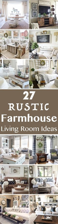 Farmhouse style is so cozy, perfect for families as it creates a wonderful atmosphere. Here are 27 beautiful farmhouse living room ideas to decorate your home. #InteriorPlanningIdeasAndTips