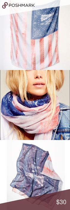 Free People Land of the Free Oversized Scarf Free People Land of the Free oversized scarf in an American flag print with longhorn skulls and Bandana print detailing in blue square, and distressed hot pink detailed stripes. Worn twice. Free People Accessories Scarves & Wraps