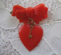 Vintage Red Heart Pin.......Key and Bow......Celluloid Plastic..... Bakelite Era..... Etsy.