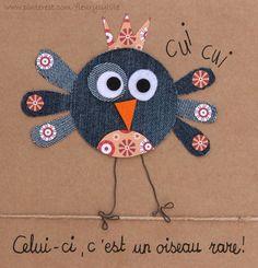 Un petit oiseau rare! #jeans #recycle   http://pinterest.com/fleurysylvie/mes-creas-la-collec/ et www.toutpetitrien.ch