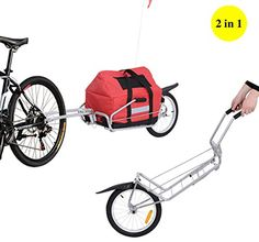 Aosom 2 in 1 Single Wheel Bicycle Bike Cargo Trailer Garden Utility Cart Carrier w/ Storage Bag, Silver/Red: Amazon.ca: Sports & Outdoors