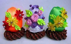 Пасхальные яйца своими руками из атласных лент канзаши