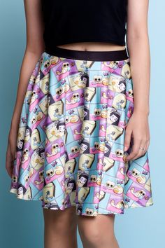 Cat Comic Skater Skirt - $55.00 AUD