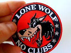 Lone Wolf No Clubs Biker Patch Biker Patches, Sew On Patches, Iron On Patches, Biker Wear, Wolf Design, Old Clothes, Lone Wolf, Iron On Applique, Leather Vest