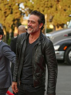 Jeffrey Dean Morgan is seen arriving at AMC 'Talking Dead Live' for the premiere of 'The Walking Dead' at the Hollywood Forever on October 23 2016 in...