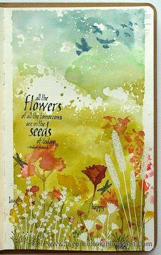 Voici quelques pages, projets et toiles mixed média en lien avec les fleurs, puisque c'est la forme en vedette dans le défi mensuel de mars...