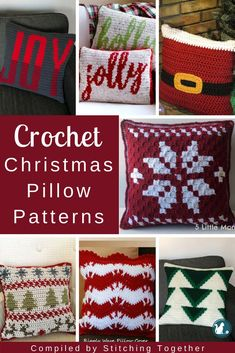 roundup of premium and free crochet pillow patterns for gorgeous Crochet Christmas Pillow Patterns. These cute Christmas cushions will add a wonderful handmade touch to your Christmas décor. Crochet Christmas Decorations, Christmas Cushions, Christmas Afghan, Crochet Decoration, Holiday Crochet, Christmas Knitting, Crochet Home, Christmas Décor, Christmas Pillow Covers