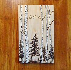 Woodburning Pyrography Forest Scene Birch Aspen by MadeByDeby