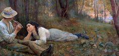 Bush Idyll, 1893 (oil on canvas) by Frederick McCubbin Australian Painters, Australian Artists, Melbourne, Romantic Paintings, Artist Painting, Oeuvre D'art, Love Art, American Art, Art Images