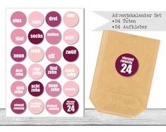 "www.papierbuedchen.de - DIY Adventskalender \"" Tüten & Aufkleber \"" (K32)"
