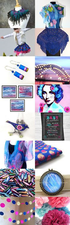 Pink and blue by PikLus on Etsy--Pinned with TreasuryPin.com