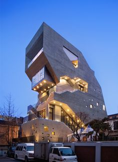 Interrobang in Seoul, SouthKorea by Sae Min Oh _ bang by min Photos by… Cantilever Architecture, Futuristic Architecture, Beautiful Architecture, Contemporary Architecture, Interior Architecture, Building Architecture, Building Facade, Building Design, Modern Buildings
