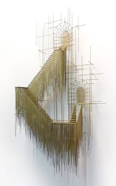 new architectural sculptures by david moreno appear as three dimensional drawings, wood sculpture architecture art installations Sculpture Ornementale, Sculptures Sur Fil, Wire Sculptures, Modern Sculpture, Abstract Sculpture, David Moreno, Art Et Architecture, Installation Architecture, Architectural Sculpture