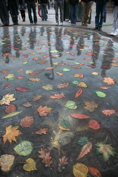 this is ammazing - it is Chalk Art - he even included the people who cause the reflections