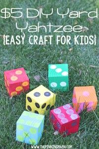 DIY Yard Yahtzee - one 4x4 post cut into six cubes, painted different colors with contrasting dots on them. Easy and fun!