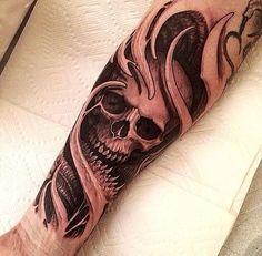 Skull Tattoo by Travis Greenough Skull Sleeve Tattoos, Skeleton Tattoos, Best Sleeve Tattoos, Forearm Tattoos, Body Art Tattoos, Tribal Tattoos, Tatoos, Sick Tattoo, Badass Tattoos