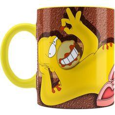 Caneca Chocolate Os Simpsons Homer Choco Lover Alça Amarela