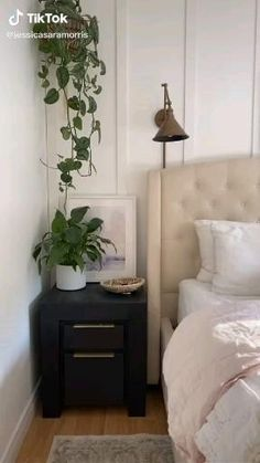 Discover the decor of this gorgeous dressed up bedroom Music Bedroom, Master Bedroom, Bedroom Decor, Rental Property, Beautiful Bedrooms, Floating Nightstand, Inspiration, Furniture, Design