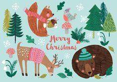 <p>Een kerstkaart zoals wij ze graag zien met allerlei grappige kerstplaatjes en dieren geillustreerd door Rebecca Jones. <br />Off set gedrukt op 400 grams FSC karton.</p>