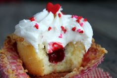 Vanilla Pound Cake Cupcakes with Raspberry Filling and Cream Cheese Frosting