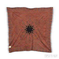 Rumal Shawl, Kashmir, c. 1860, extremely fine weave, with original 19th century import tag, 6 ft. 4 in. x 6 ft. 2 in.   Skinner Auctioneers Sale 2942T