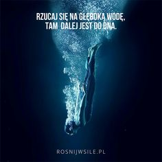 """""""Rzucaj się na głęboką wodę, tam dalej jest do dna"""".  #rosnijwsile #blog #rozwój #motywacja #sukces #siła #pieniądze #biznes #water #diving #deep #woda #odwaga #inspiracja #sentencje #myśli #marzenia #szczęście #życie #pasja #aforyzmy #quotes #cytaty Swimming Motivation, Inspirational Qoutes, In Other Words, Life Is Beautiful, Motto, Texts, Nerd, Positivity, Thoughts"""