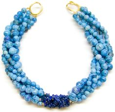 Helga Wagner // Blue Fire Agate with Lapis chips and Tiffany clasp.