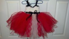 Christmas Tutu Dress red Shimmer Tulle with white Shimmer Tulle, Oh So Plush white Crochet yarn, red wide Lace and sheer black ribbon
