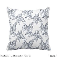Blue Seaweed Leaf Pattern Throw Pillow