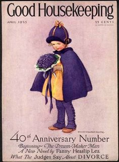 Little Girl in Purple by JESSIE WILLCOX SMITH Cover Only - 1925 Original Old