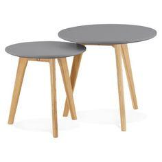 Tables basses gigognes avec plateau en bois gris foncé ESPINO