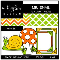 Mr. Snail Mini Clipart Bundle {A Hughes Design}