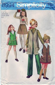 Vintage 1970 Simplicity 8994 Sewing Pattern by SewUniqueClassique, $8.00