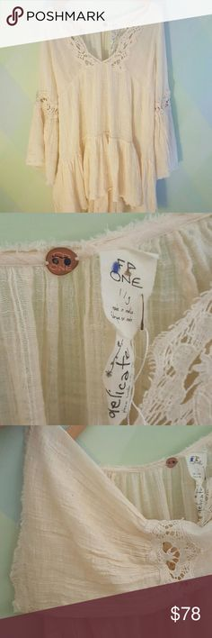 Free People Belled Sleeve and lace dress-L Soft, flowy and comfy dress Free People Dresses Long Sleeve